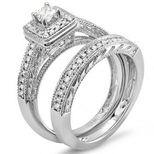 0.75 Carat (ctw) 14k White Gold Princess & Round Diamond Ladies Bridal Ring Set Halo Style Engagement Set 3/4 CT