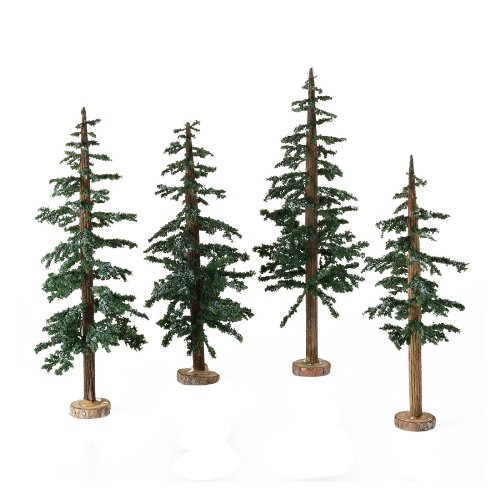 Department 56 Accessories for Village Collections Winter Lodge Pines, Tree, Medium, 9-Inch, Set of 4