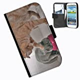 Hairyworm-Funny, Cat Samsung Galaxy S3 Mini leather side flip wallet case case for Samsung Galaxy S3 Mini phone