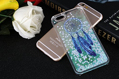 IKASEFU Funny Novelty[Flowing Glitter Blue Hearts]Blue Dreamcatcher Hard Bling Shiny Clear Liquid Plastic Case Cover for iPhone SE/5S/5-Hearts,Blue Dreamcatcher