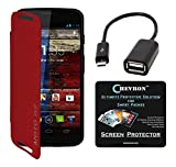 Chevron Flip Cover For Moto G 2nd Gen With Chevron HD Screen Guard & Micro OTG Cable (Red)