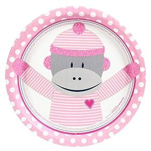 Sock Monkey Pink Dinner Plates (8)
