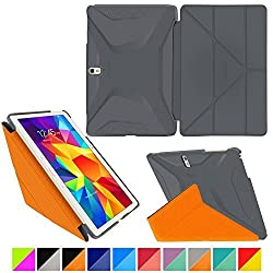 roocase Samsung Galaxy Tab S 10.5 Case - Origami 3D [space Gray / roocase Orange] Slim Shell 10.5-Inch 10.5' Smart Cover with Landscape, Portrait, Typing Stand