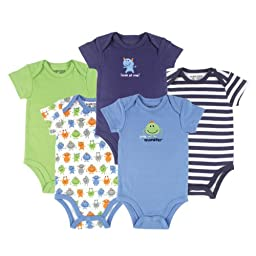 Luvable Friends Hanging 5 Pack Monster Bodysuits, 3-6 Months