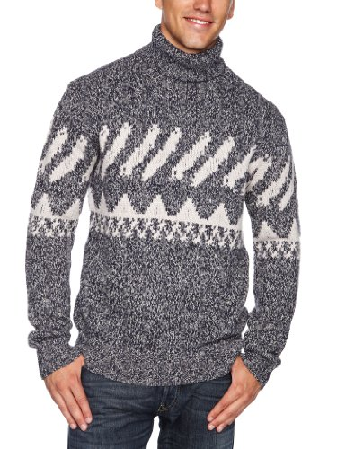 French Connection Vector Patterned Men's Jumper Blueblood/Stone X Large
