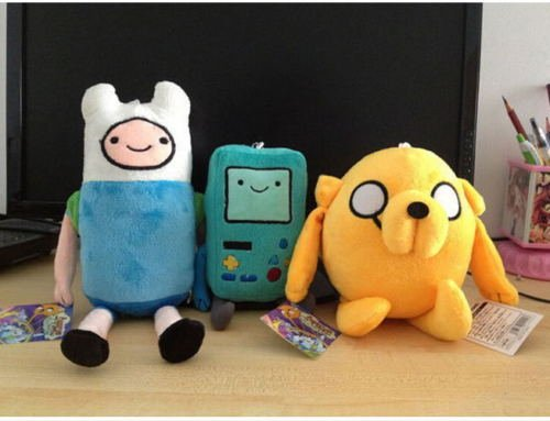 3pcs Set Cartoon Adventure Time Plush Toys Finn Jake Beemo BMO Cute Soft Doll