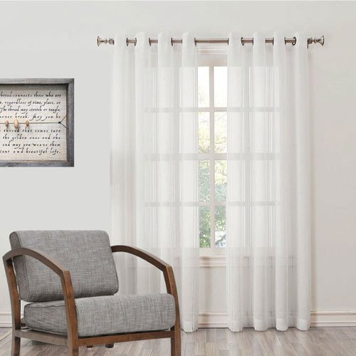 Desirica Premium Quality Sheer White Long Door Curtain (7 Ft)