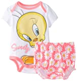 Disney Baby-Girls Newborn Tweety Diaper Cover Set, White, 6-9 Months