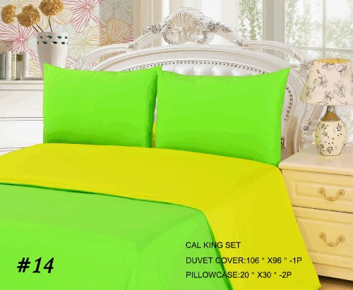 Tache 3 Piece 100% Cotton Solid Yellow And Green Lemon Lime Reversible Duvet Cover Set, Cal King front-846998