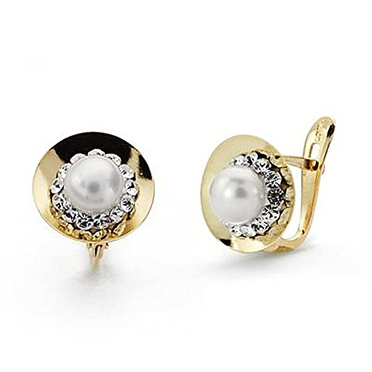 18k gold pearl earrings 10mm zircons. communion [9040P]