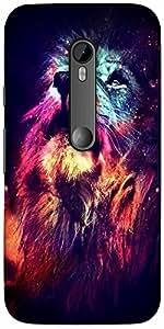 Snoogg Neon Lion Designer Protective Back Case Cover For Motorola G 3Rd Gener...