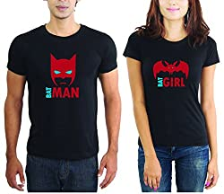 LaCrafters Couple tshirt - Batman and Batgirl Couples Tshirt_Black_L - Set of 2