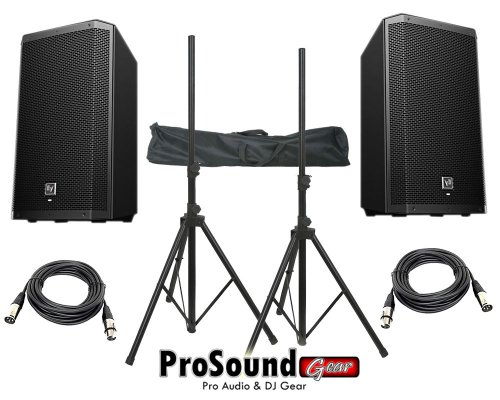 "Electro-Voice Zlx-12P 12"" 2-Way Powered Loudspeaker / (2) Xlr To Xlr Cables 20Ft Ea / (Pair) Speaker Stand W/ Bag / (Prosoundgear Authorized Seller)"