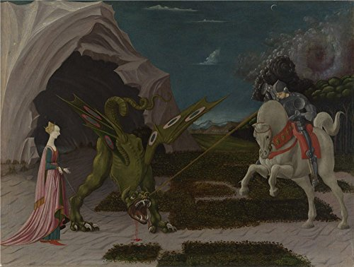 High Quality Polyster Canvas ,the High Resolution Art Decorative Prints On Canvas Of Oil Painting 'Paolo Uccello Saint George And The Dragon ', 16 X 21 Inch / 41 X 54 Cm Is Best For Home Theater Decoration And Home Decoration And Gifts