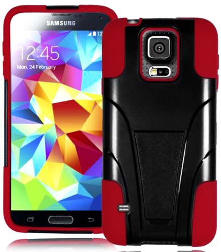 Mylife (Tm) Ultra Dark Black And Dark Red - Neo Hybrid Series (Built In Kickstand) 2 Piece + 2 Layer Case For New Galaxy S5 (5G) Smartphone By Samsung (External Hard Fit Armor With Built In Kick Stand + Internal Soft Silicone Rubberized Flex Gel Bumper Gu