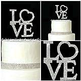 Lulu Sparkles LLC Crystal Rhinestone Bling Wedding Monogram Love Cake topper LARGE size Wedding engagement Birthday Anniversary cake topper Bling Keepsake