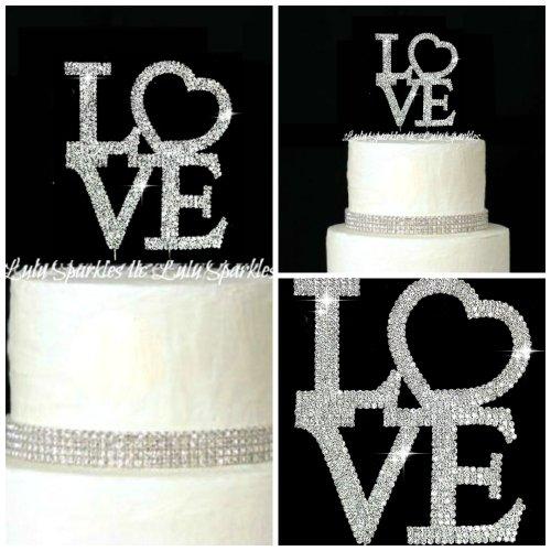 Lulu Sparkles Llc Crystal Rhinestone Bling Wedding Monogram Love Cake Topper Large Size Wedding Engagement Birthday Anniversary Cake Topper Bling Keepsake front-224609