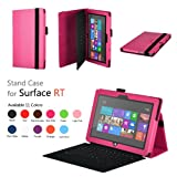 Elsse (TM) Premium Folio Case with Stand for Microsoft Surface Windows 8 RT (Does not fit Windows 8 Pro Version) - White (Surface RT, Hot Pink)