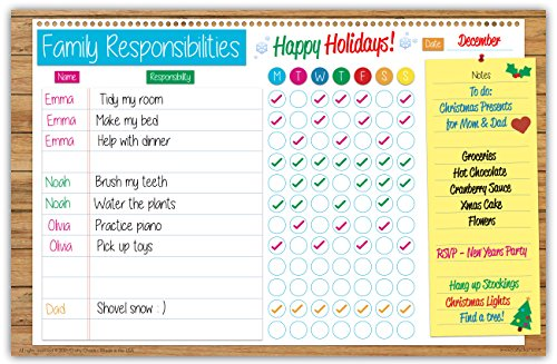 Family Planner Responsibility Chore Chart Dry Erase Poster Board | Weekly Calendar | For Wall & Refrigerator | Bright Fun Colors | FREE Marker Pen & Eraser (LARGE 17 inch x 11 inch) by Crafty Charts (Good Morning Calendar compare prices)