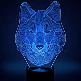 Animals Wolf 3D Optical Illusions LED Lamps, YKL World Amazing 7 Changing Colors Acrylic Touch Button Table Desk Night Light with 5 feet USB Cable for Kids Bedroom Christmas Birthday Gifts