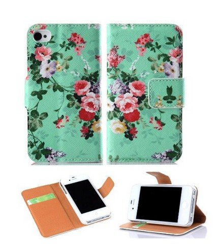 Candywe Colorful Wallet Pu Leather Credit Card Holder Pouch Case Cover For Apple Iphone 4 4S