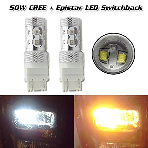 Partssquare 2Pcs Dual Color 3157 4157 3457 Switchback 50W Cree Projector Lens Bulb Turn Signal Light For 2014 Ford /Chrysler /Dodge