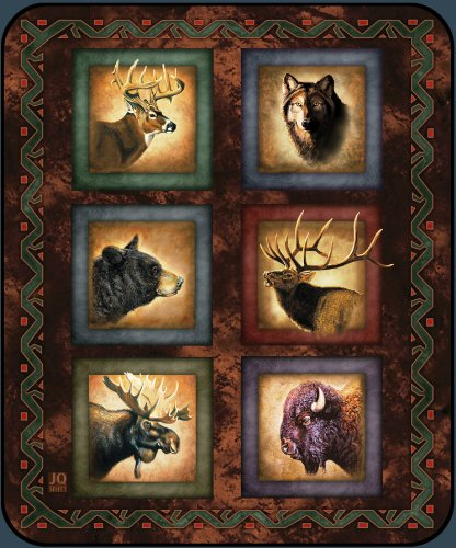 Alaskan Wildlife Lodge Series High Quality Plush Raschel Queen Size Blanket front-526261