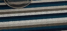 Chilewich Shag Even Stripe Floormat Utility 24 X 36 Marine by Chilewich