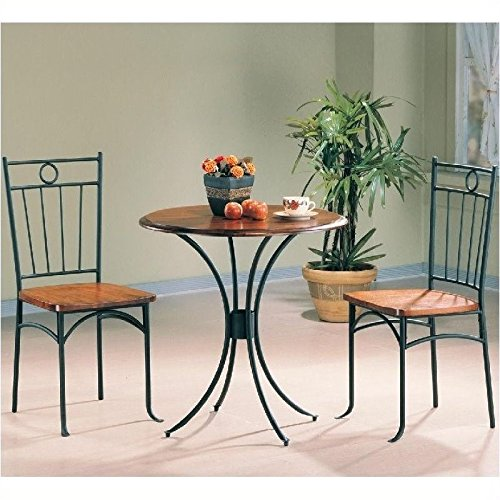 Coaster 5939 Metal and Wood 3-Piece Bistro Table/Chair Set (Bistro Tables And Chairs compare prices)