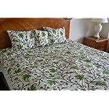Crewel Bedding Peace Earthly Greens & Brown Silk Dupioni Duvet (92X94)