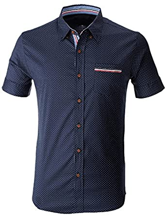 Flatseven mens polka dot short sleeve button down casual for Mens polka dot shirt short sleeve