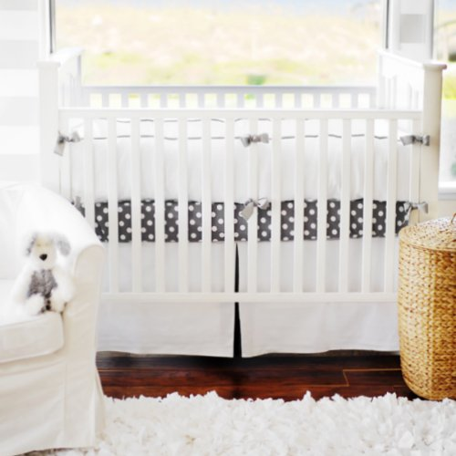 New Arrivals White Pique Crib Bumper, Gray Trim