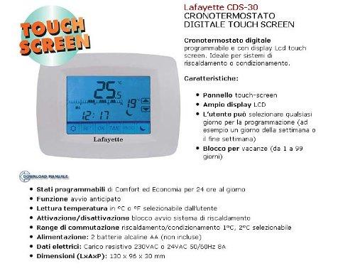 Cronotermostato touch screen programmabile digitale cds 30 for Cronotermostato lafayette cds 30