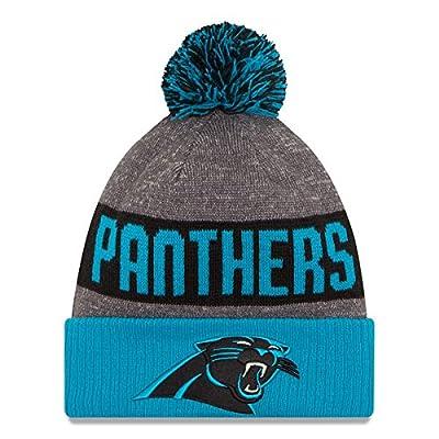 New Era Knit Carolina Panthers Blue On Field Game Sideline Winter Stocking Beanie Pom Hat Cap 2015 ...