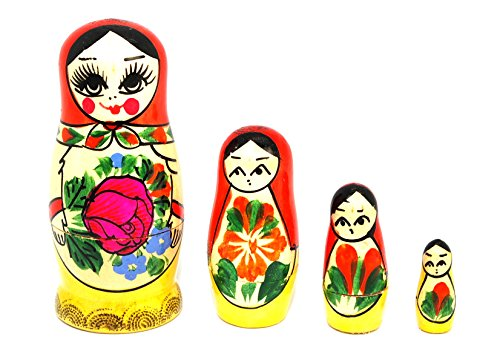 Authentic Russian Hand Painted Handmade Semenov Nesting Dolls Set of 4 Pieces Matryoshkas Kid's gift - 1