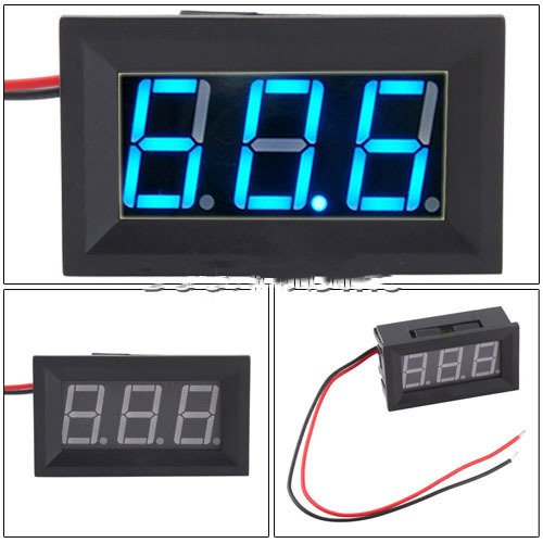 Niceeshop(Tm) Mini 2 Wire Dc 4.5-30V Blue Led Panel Digital Display Voltage Meter Voltmeter