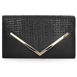 BMC Womens Onyx Black PU Leather Alligator Skin Pattern Perforated Glitter Metal Accent Envelope Flap Clutch Handbag
