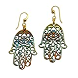 Hamsa Iridescent Earrings on French Hooks