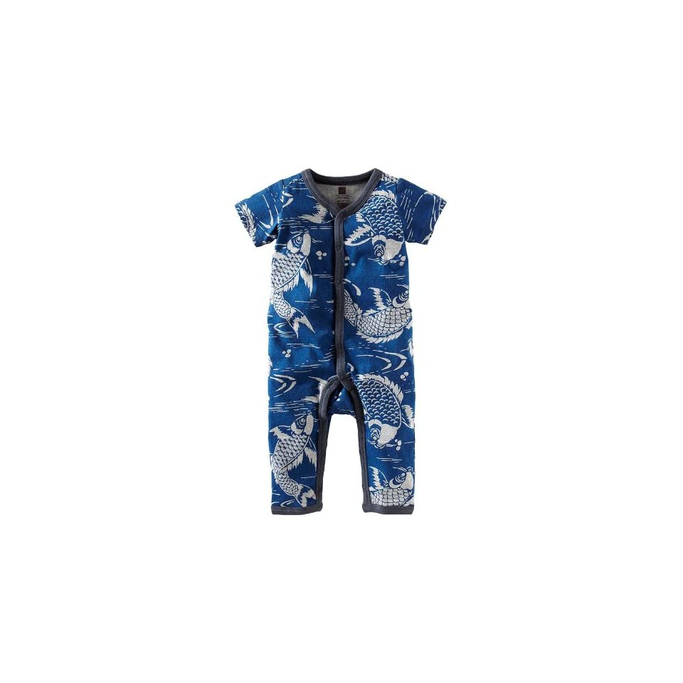 Tea Collection Baby Boys Newborn Short Sleeve Snap Front Romper, Blue Nova, 3 6 Months Infant And Toddler Rompers Clothing