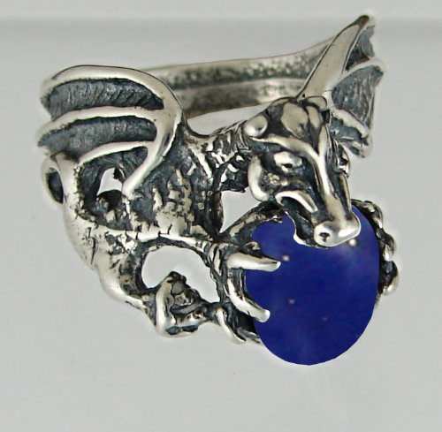 Dragon of Desire Sterling Silver Ring Accented with Genuine Lapis Lazuli Made in America