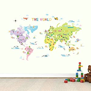 Dw 1203 Multicoloured World Map Wall Stickers Amazon Co