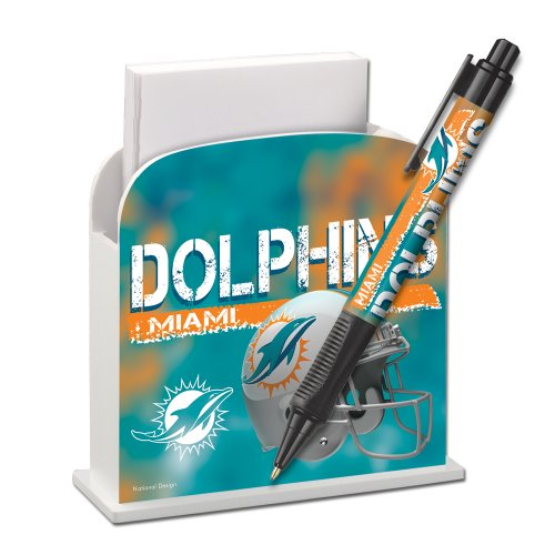 Miami Dolphins Stationery Desk Caddy with Matching Ballpoint Grip Pen - NFL (12019-QUO) at Amazon.com