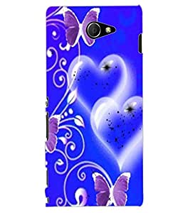 ColourCraft Heart and Butterfly Design Back Case Cover for SONY XPERIA M2
