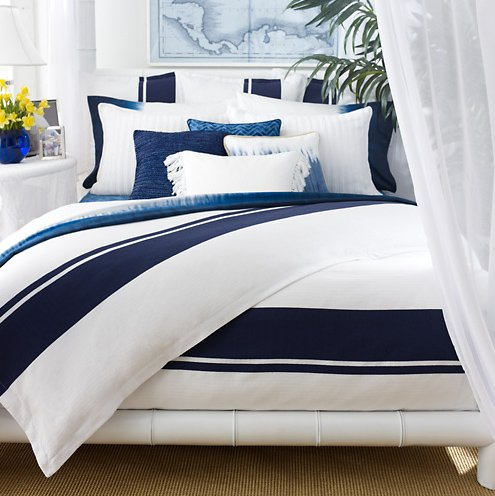 Rugby stripe king navy blue and white comforter and standard sham set