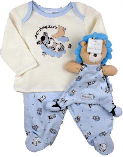 Vitamins Playwear Baby-Boys Newborn Catching Zzz'S 2 Piece Footed Pajama With Blankie Buddy, Blue, 3 Months
