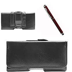 DMG Executive Cell Phone 4in Pouch Carrying Case with Belt Clip Holster for Nokia X2 (Black) + 4in1 Laser Torch Stylus Pen