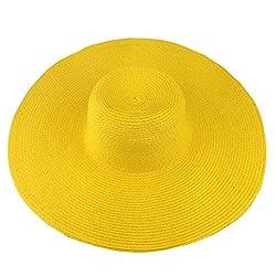 Summer Large Brimmed Hat Sandbeach Sunscreen Straw Hat Cap Yellow