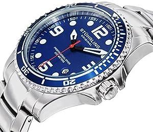 "Stuhrling Original Mens ""Specialty Grand Regatta"" Stainless Steel Professional Swiss Quartz Dive Watch from Stuhrling Original swiss quartz stainless steel dive watch by rolex replication LTD"