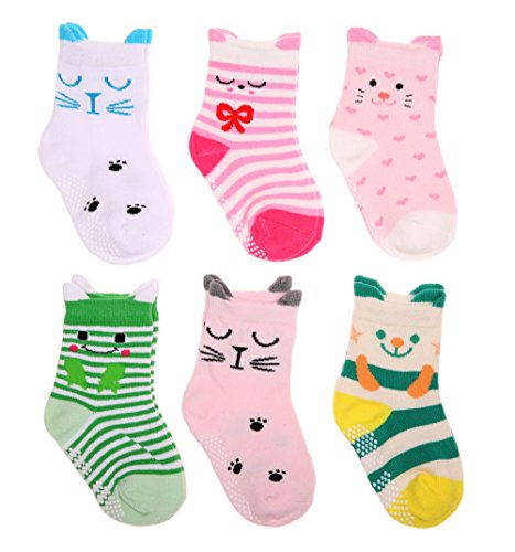 SDBING Baby's Color 6 Pair Thick Warm Cotton Socks (Anti-slip 1 to 3 Years Old) (Cute Cats)
