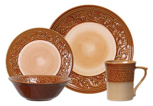 Gibson Villa Adriana 16-Piece Reactive Stoneware Dinnerware Set, Brown